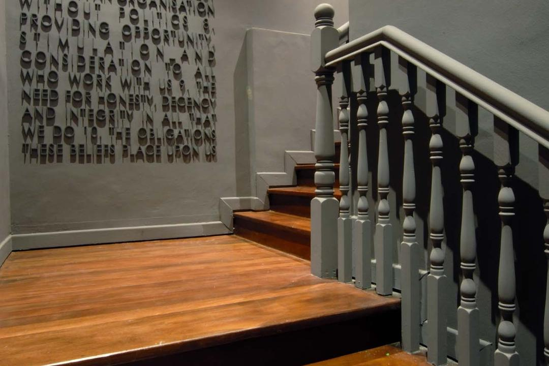 BBH, Ministry of Design, Contemporary, Commercial, Stairway, Wooden Stairway, Wall Design, Grey Railing, Gray Railing, Banister, Handrail, Staircase
