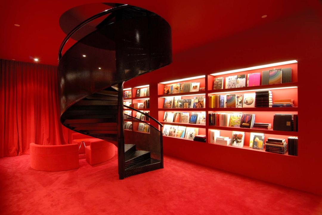 BBH, Ministry of Design, Contemporary, Commercial, Red Ceiling, Red Walls, Red Flooring, Black Stairway, Twisted Stairway, Open Shelf, Open Shelves, Bookshelves, Indoors, Interior Design, Library, Room, Chair, Furniture, Bookcase