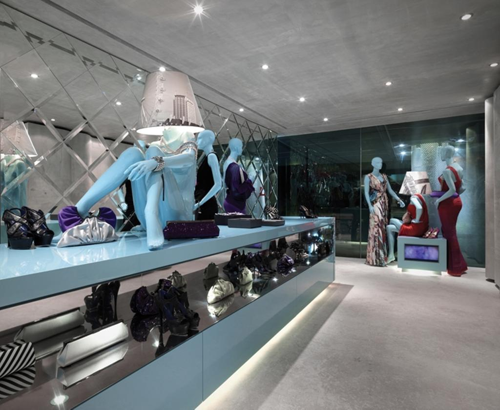 Ashley Isham Mandarin, Commercial, Architect, Ministry of Design, Contemporary, Recessed Lighting, Recessed Lights, Concrete Floor, Figurines, Model Displays, Blue Counter, Display Counter, Shoe Display, Mannequins, Shop, Window Display, Boutique