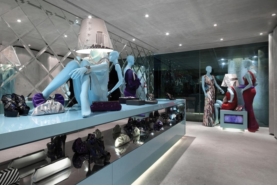 Ashley Isham Mandarin, Ministry of Design, Contemporary, Commercial, Recessed Lighting, Recessed Lights, Concrete Floor, Figurines, Model Displays, Blue Counter, Display Counter, Shoe Display, Mannequins, Shop, Window Display, Boutique