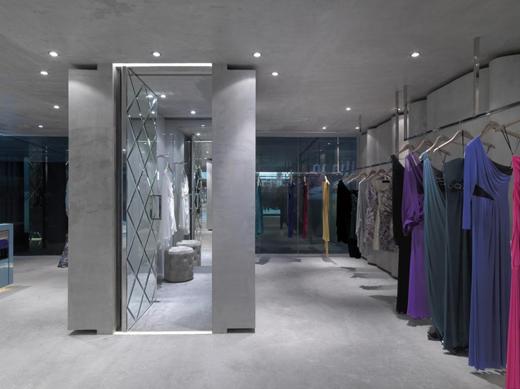 Ashley Isham Mandarin, Commercial, Architect, Ministry of Design, Contemporary, Changing Room, Recessed Lighting, Recessed Lights, Concrete Floor, Clothing Rack
