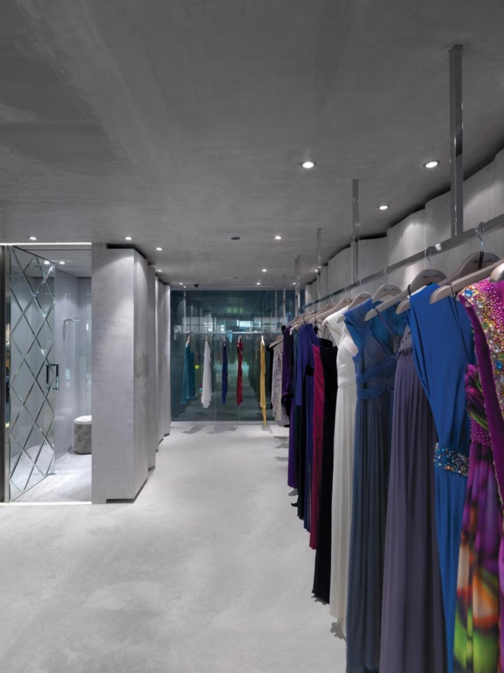 Ashley Isham Mandarin, Commercial, Architect, Ministry of Design, Contemporary, Changing Rooms, Concrete Floor, Recessed Lighting, Recessed Lights, Clothing Rack, Apparel, Clothing, Door, Sliding Door