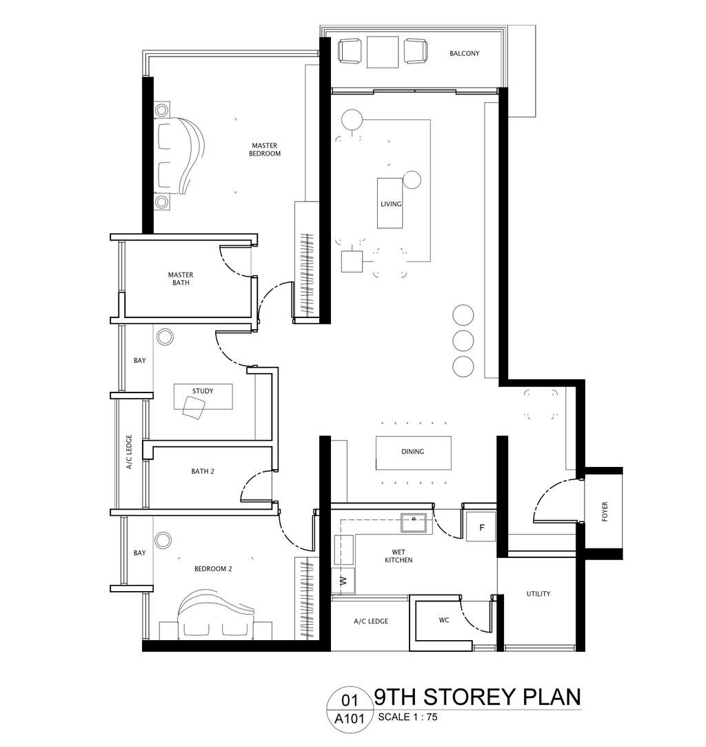 Minimalist, Condo, La Costa, Interior Designer, Pocket Square, Floor Plan, Diagram, Plan