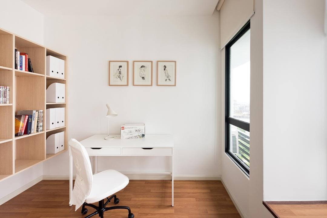 La Costa, Pocket Square, Minimalistic, Study, Condo, Bookcase, Bookshelf, Storage, Wooden Bookcase, Platform, Wall Art, Wall Frames, Study Table, Desk, Wooden Flooring, Bay Window, Ledge, Indoors, Interior Design