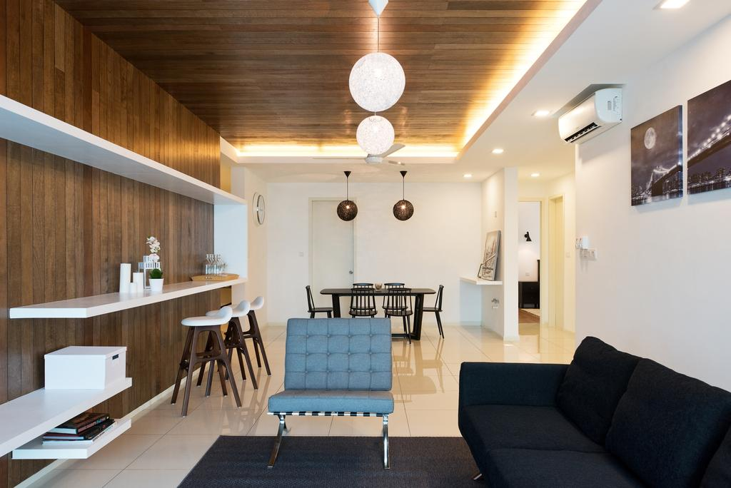 Minimalistic, Condo, Living Room, La Costa, Interior Designer, Pocket Square, Wall Art, Feature Wall, Wall Shelves, Sofa, Wooden Partition, Wood Panels, Pendant Lamps, Chair, Furniture, Couch, Dining Table, Table, Studio Couch, Dining Room, Indoors, Interior Design, Room