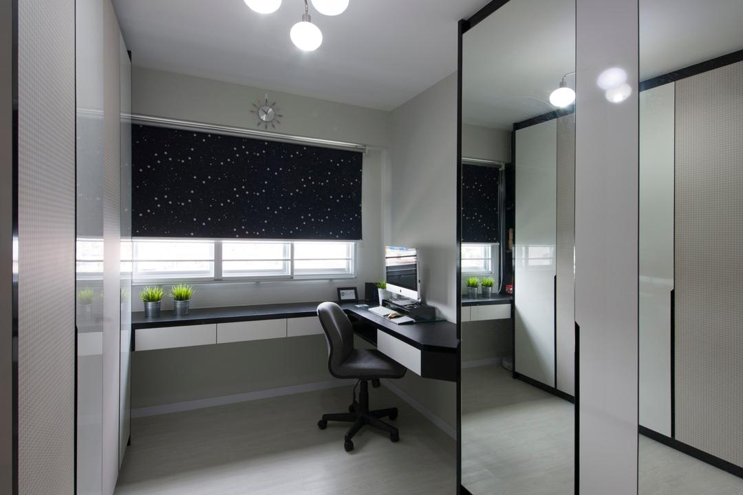 Anchorvale (Block 331A), ELPIS Interior Design, Modern, Study, HDB, Wooden Flooring, Laminated Floor, Ceiling Lighting, Black Blinds, Blinds, Study Desk, Office Chair, Wall Mount Desk, Mirror, Full Length Mirror, White Cupboard, Desk, Furniture, Table