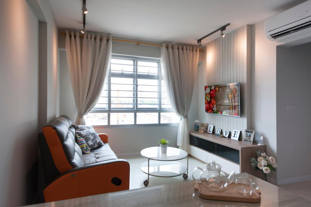 Anchorvale (Block 331A), ELPIS Interior Design, Modern, Living Room, HDB, Curtains, Trackie, Track Lighting, Track Lights, Feature Wall, Wall Mount Tv, Tv Shelf, Round Coffee Table, Coffee Table, Sofa, Furniture, Table, Dining Room, Indoors, Interior Design, Room, Tabletop