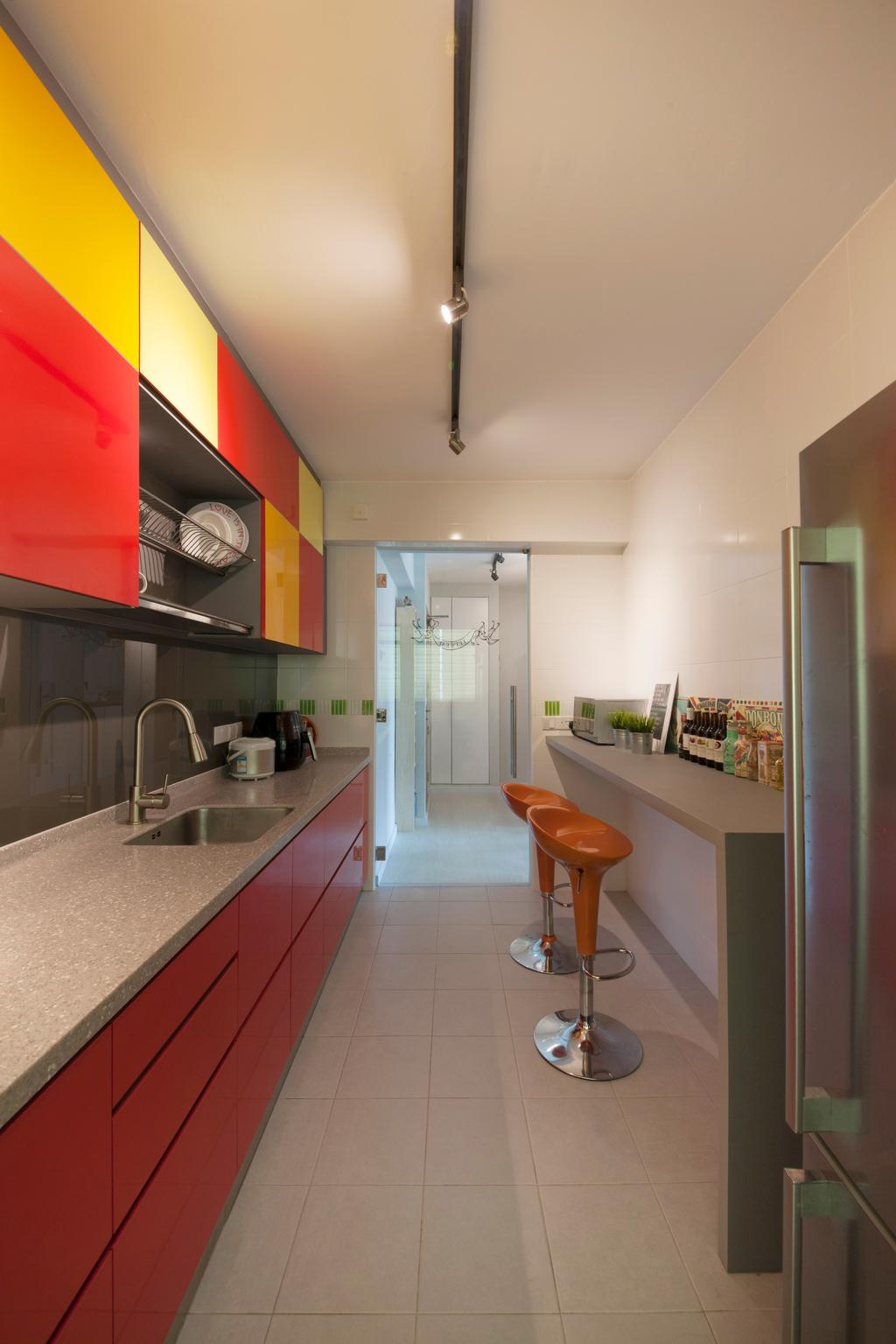 Modern, HDB, Kitchen, Anchorvale (Block 331A), Interior Designer, ELPIS Interior Design, Track Lighting, Trackie, Track Lights, Bar Stool, Stool Chair, Orange Bar Stool, Colourful Cabinets, Wall Mounted Cabinets, Red Cabinets, Sink, Furniture