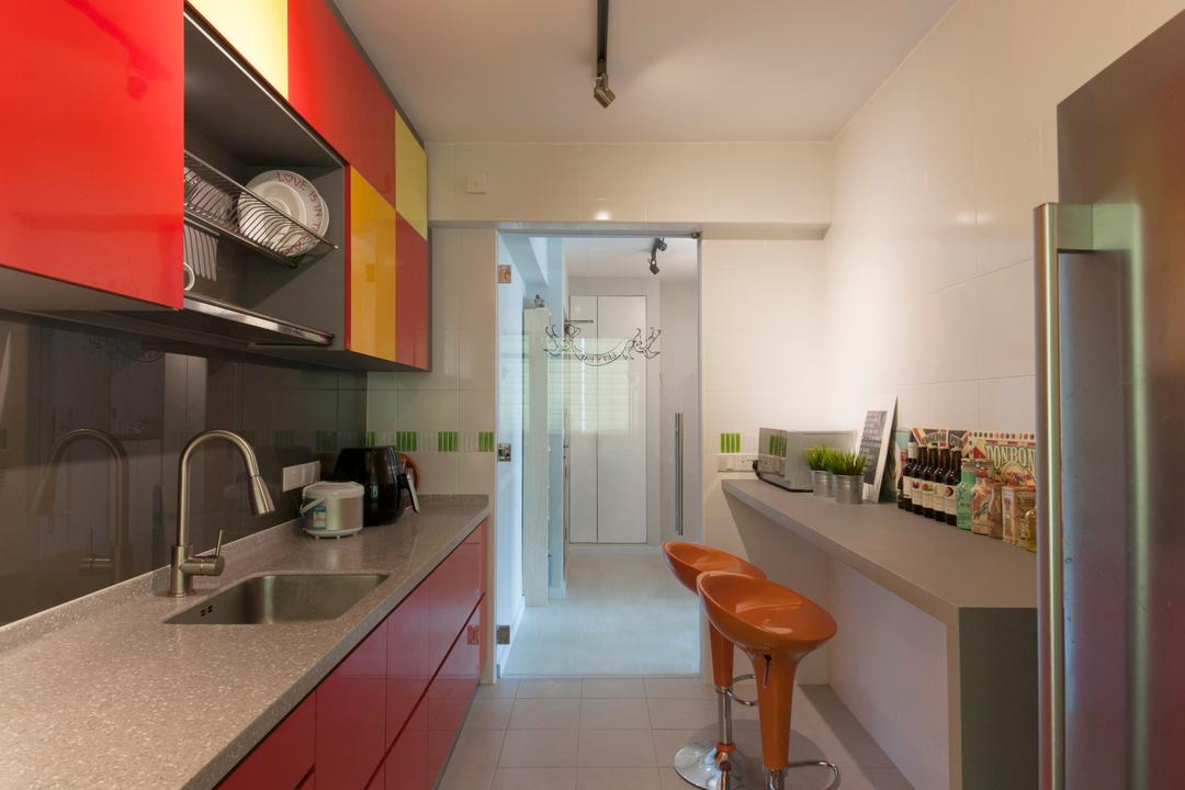 Anchorvale (Block 331A), ELPIS Interior Design, Modern, Kitchen, HDB, Track Lighting, Trackie, Track Lights, Bar Stool, Stool Chair, Orange Bar Stool, Colourful Cabinets, Wall Mounted Cabinets, Red Cabinets, Sink, Furniture
