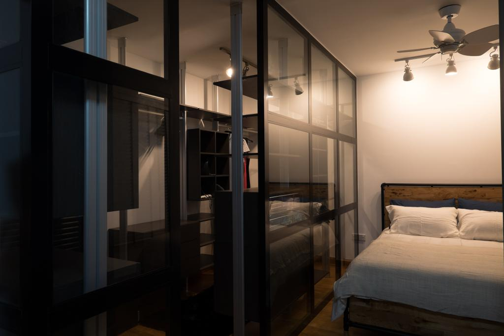 Scandinavian, HDB, Bedroom, Edgedale Plains (Block 662A), Interior Designer, Nitty Gritty Interior, King Size Bed, Wooden Bedding Platform, Track Lights, Ceiling Fan, Glass Panel, Cozy, Cosy, Modern Contemporary Bedroom