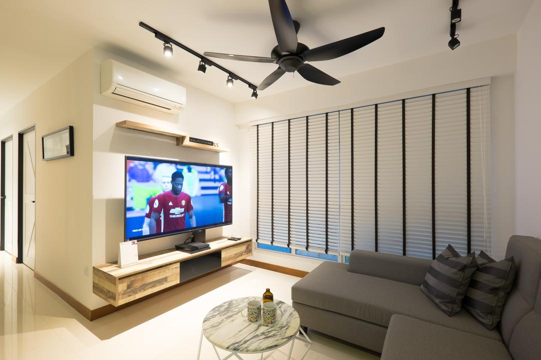 Edgedale Plains (Block 662A), Nitty Gritty Interior, Scandinavian, Living Room, HDB, Ceiling Fan, Track Lights, Sectional Sofa, Wall Mounted Television, Floating Television Console, Roll Down Curtain, Modern Contemporary Living Room, Glass Table