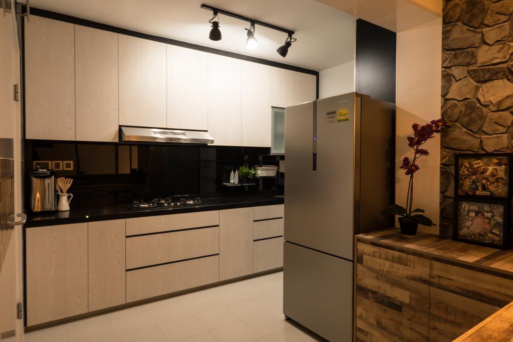 Scandinavian, HDB, Kitchen, Edgedale Plains (Block 662A), Interior Designer, Nitty Gritty Interior, Track Lights, Wooden Kitchen Cupboard, Wooden Kitchen Cabinet, Black Laminated Top, Modern Contemporary Kitchen