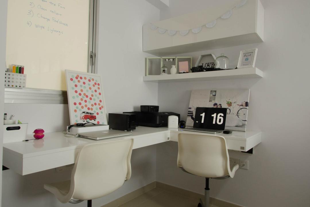 Fernvale Link (Block 440C), ELPIS Interior Design, Minimalistic, Study, HDB, White Walls, White Chairs, White Swivel Chairs, White Office Chairs, White Study Desk, Study Desk, Wall Mount Desk, Wall Mount Shelf, Wall Shelf, White Shelf, Open Shelf, Whiteboard, Wall Mounted Whiteboard, Desk, Furniture, Table, Chair