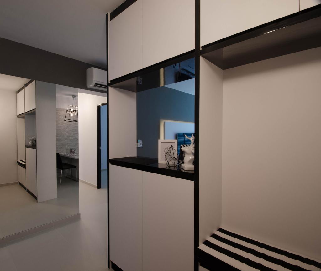 Minimalistic, HDB, Fernvale Link (Block 440C), Interior Designer, ELPIS Interior Design, Monochrome Cabinets, Open Shelf, Building, Housing, Indoors, Loft