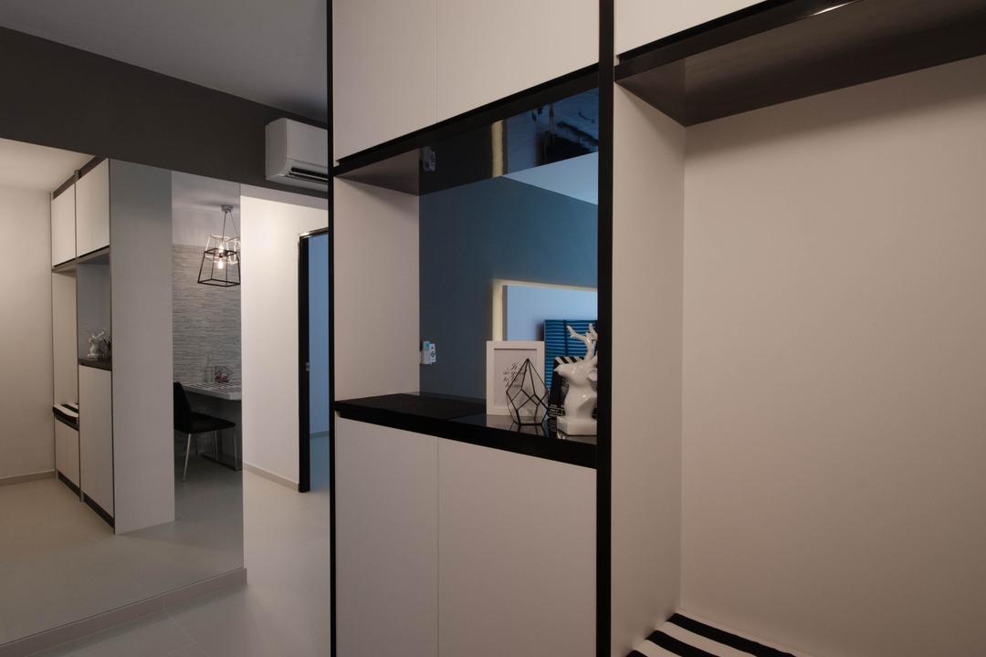 Fernvale Link (Block 440C), ELPIS Interior Design, Minimalistic, HDB, Monochrome Cabinets, Open Shelf, Building, Housing, Indoors, Loft