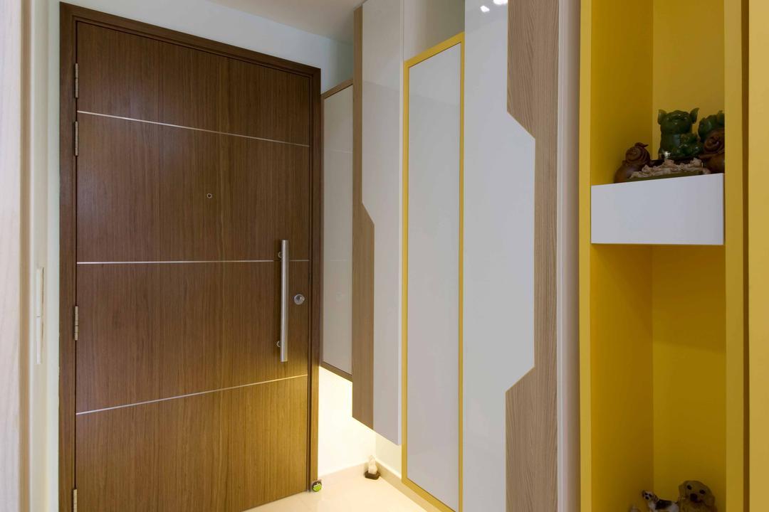 Miltonia, ELPIS Interior Design, Modern, Living Room, Condo, Entrance, Wooden Door, Brown Door, Recessed Lighting, Recessed Lights, White Shelf, Yellow Shelves, Display Decors