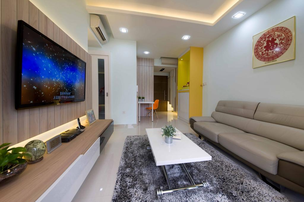 Modern, Condo, Living Room, Miltonia, Interior Designer, ELPIS Interior Design, Leather Sofa, Beige Sofa, Wall Portrait, Rug, Grey Rug, Gray Rug, Wall Mount Tv Shelf, Tv Shelf, Flatscreen Tv, Wall Mount Tv, Feature Wall, Wooden Feature Wall, Concealed Lighting, Concealed Lights, Coffee Table, White Coffee Table, False Ceiling, Recessed Lighting, Recessed Lights, Couch, Furniture, Indoors, Interior Design