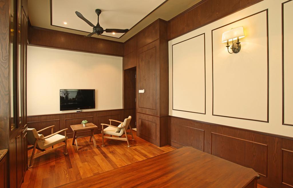 Modern, Landed, Living Room, Fortune Residence, Codrington Road @ Penang, Interior Designer, Archiplan Interior Design, Transitional, Indoors, Room, Hardwood, Wood, Flooring, Furniture