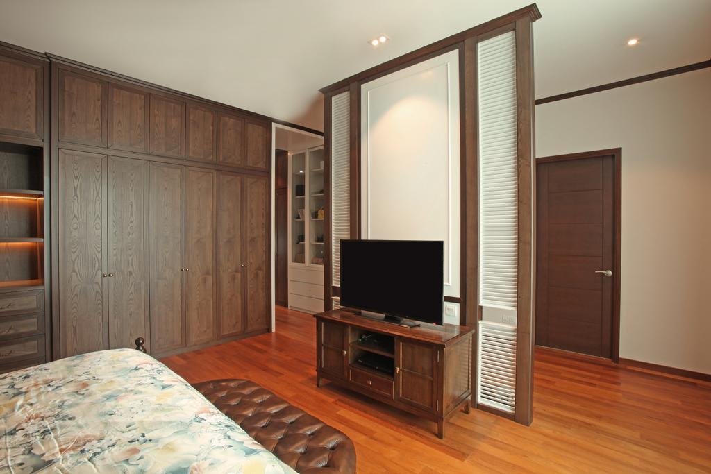 Modern, Landed, Bedroom, Fortune Residence, Codrington Road @ Penang, Interior Designer, Archiplan Interior Design, Transitional, Door, Electronics, Entertainment Center, Flooring