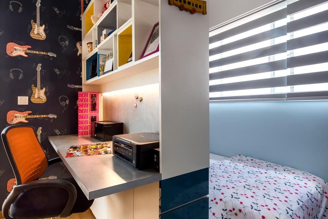 Vacanza @ East, Prozfile Design, Contemporary, Bedroom, Condo, Bed Board, Venetian Blinds, Blinds, Wooden Flooring, Light Wood, Laminated Flooring, Shelf, Open Shelf, Partition Shelf, Wallpaper, Office Chair, Study Desk, Indoors, Interior Design, Room, Appliance, Electrical Device, Oven