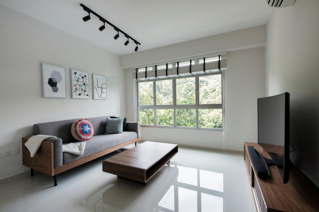 Minimalistic, HDB, Living Room, Telok Blangah Heights, Interior Designer, The Local INN.terior 新家室, Modern Contemporary Living Room, Ceramic Floor, Wall Mounted Television, Curved Television, Wooden Television Console, Roll Down Curtain, Wooden Table, Sofa, Track Lights, Couch, Furniture, Indoors, Room
