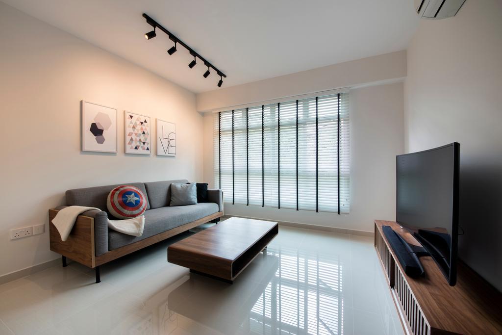 Minimalistic, HDB, Living Room, Telok Blangah Heights, Interior Designer, The Local INN.terior 新家室, Couch, Furniture, Indoors, Interior Design, Banister, Handrail