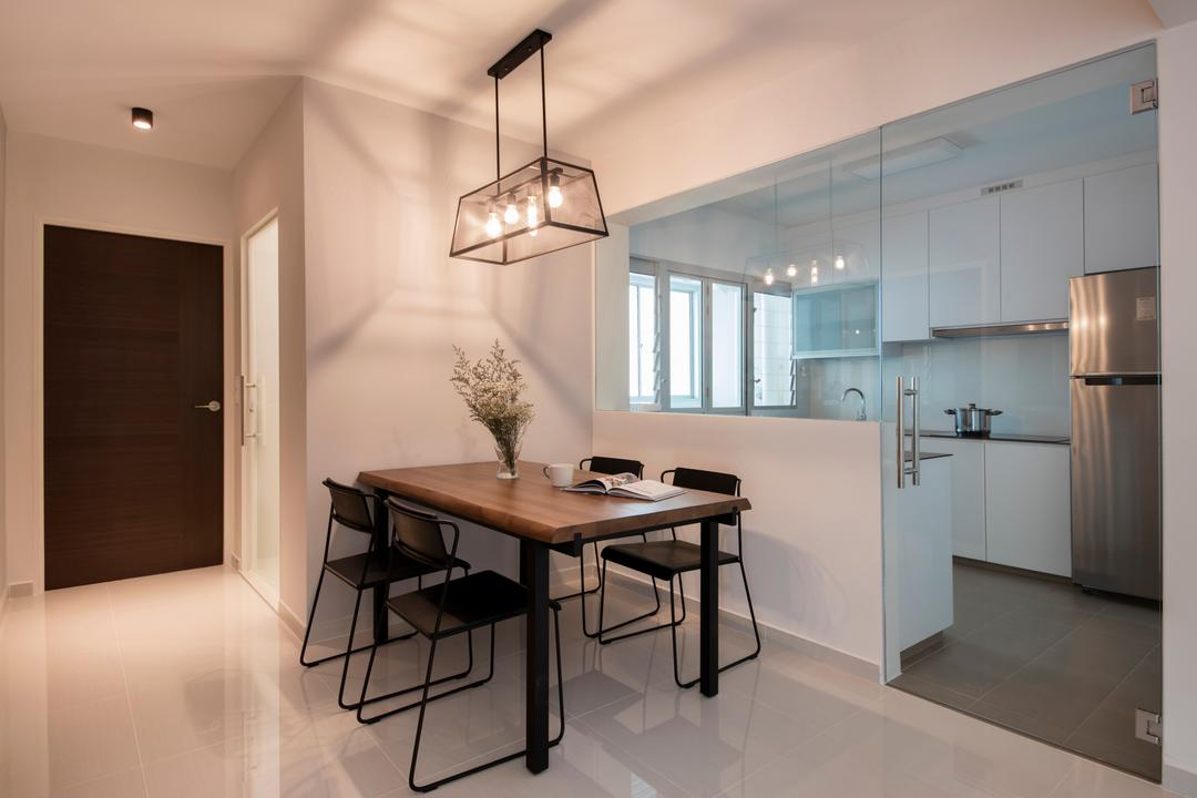 Telok Blangah Heights, The Local INN.terior 新家室, Minimalistic, Dining Room, HDB, Wooden Dining Table, Hanging Lights, Modern Contemporary Dining Room, Black Dining Chair, Flora, Jar, Plant, Potted Plant, Pottery, Vase, Dining Table, Furniture, Table, Indoors, Interior Design, Room, Chair