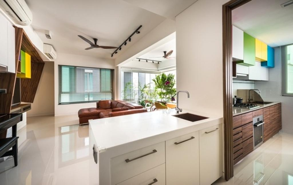 Contemporary, Condo, St Patrick Residences, Interior Designer, Prozfile Design, Wooden Fan, Wood Fan, Track Light, Track Lighting, Colourful Cabinet, Trackie, White Cabinet, Wooden Cabinet