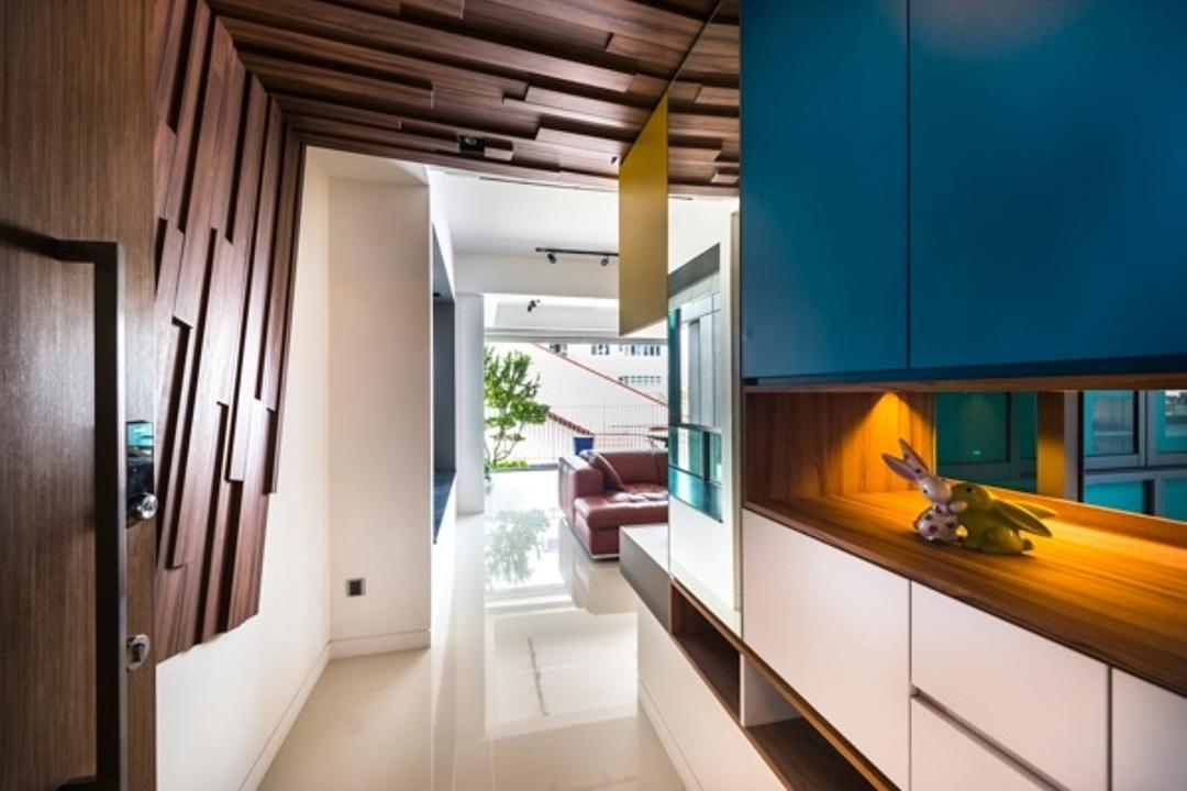 St Patrick Residences, Prozfile Design, Contemporary, Condo, Wooden Ceiling, Concealed Lighting, Concealed Light, Display Cabinet, Storage, Wooden Feature Wall, Corridor