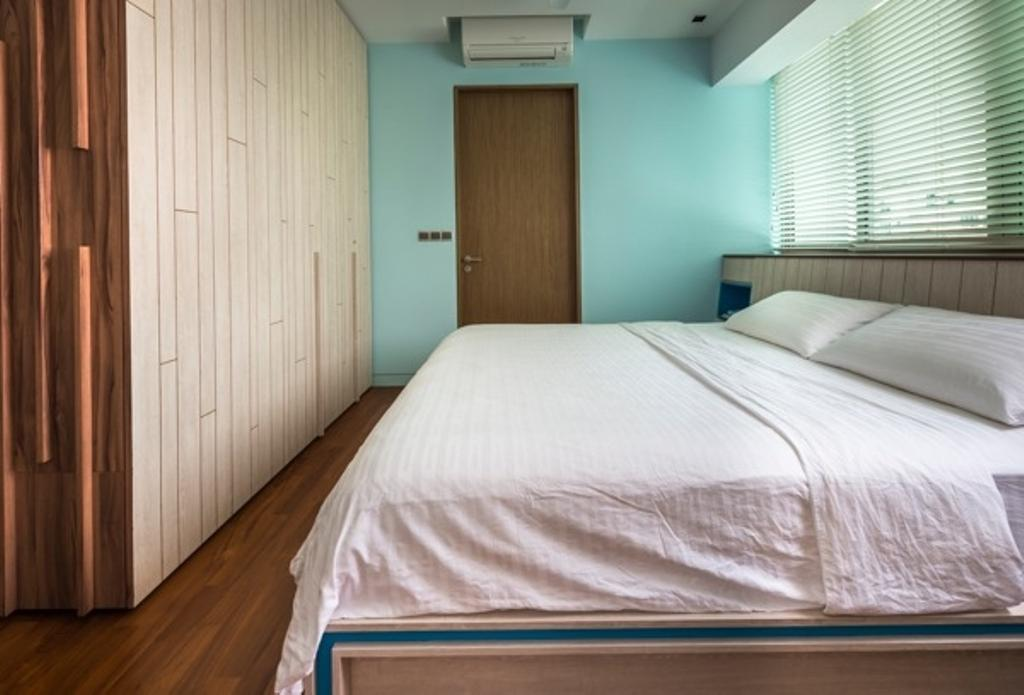 Contemporary, Condo, Bedroom, St Patrick Residences, Interior Designer, Prozfile Design, Wooden Wardrobe, Blinds, Blue Wall, Wooden Headboard, Wooden Flooring, Wood Flooring, Wooden Door, Turquoise Wall, Bed, Furniture