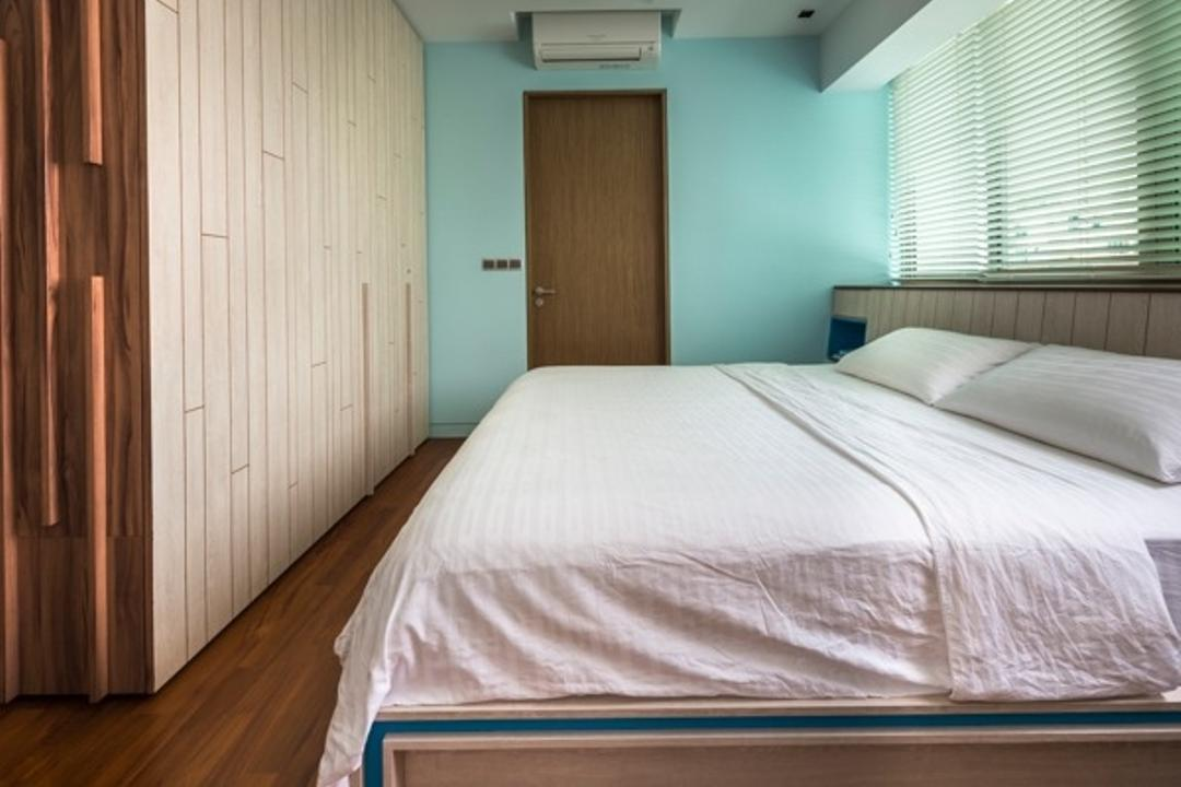 St Patrick Residences, Prozfile Design, Contemporary, Bedroom, Condo, Wooden Wardrobe, Blinds, Blue Wall, Wooden Headboard, Wooden Flooring, Wood Flooring, Wooden Door, Turquoise Wall, Bed, Furniture