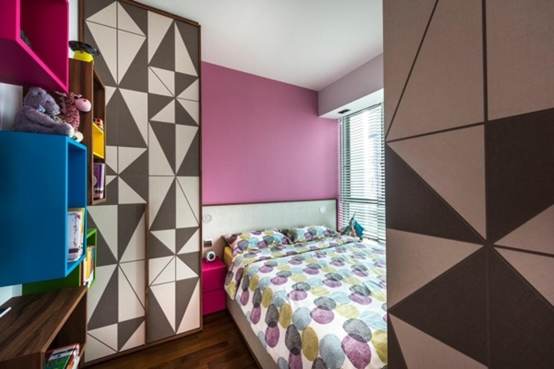St Patrick Residences, Prozfile Design, Contemporary, Bedroom, Condo, Bedsire Table, Purple Wall, Wardrobe, Stprage, Geometric Design Closet, Colourful Display Cabinet, Colourful Storage Unit, Collage, Poster