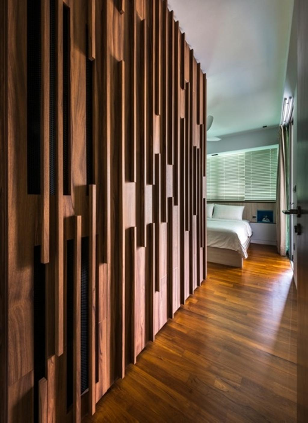 Contemporary, Condo, Bedroom, St Patrick Residences, Interior Designer, Prozfile Design, Wooden Flooring, Wooden Floor, Wooden Wall, Blinds, Bedside Table