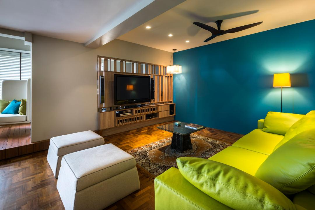 Pandan Valley, Prozfile Design, Eclectic, Living Room, Condo, False Ceiling, Wooden Flooring, Green Sofa, Lime Green Sofa, Standing Lamp, Lamp, Wooden Console, Wooden Tv Console, Indoors, Room, Electronics, Entertainment Center