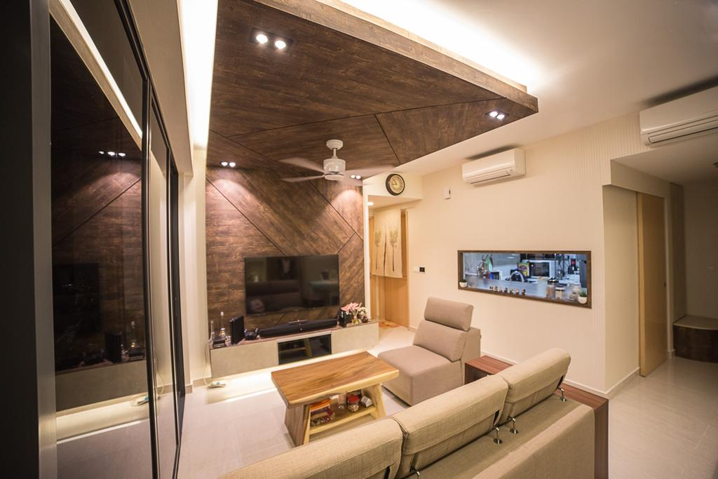 Modern, HDB, Living Room, La Fiesta, Interior Designer, MET Interior, Couch, Furniture, Indoors, Interior Design, Electronics, Entertainment Center, Home Theater