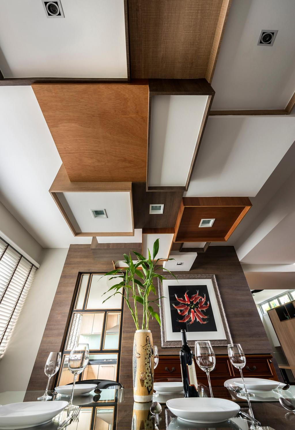 Eclectic, Condo, Dining Room, Pandan Valley, Interior Designer, Prozfile Design, Wooden Ceiling, Glass Dining Table, Glass Table, Venetian Blinds, Blinds, Wallart, Wall Painting, Wooden Wal, Flora, Jar, Plant, Potted Plant, Pottery, Vase, Banister, Handrail, Staircase