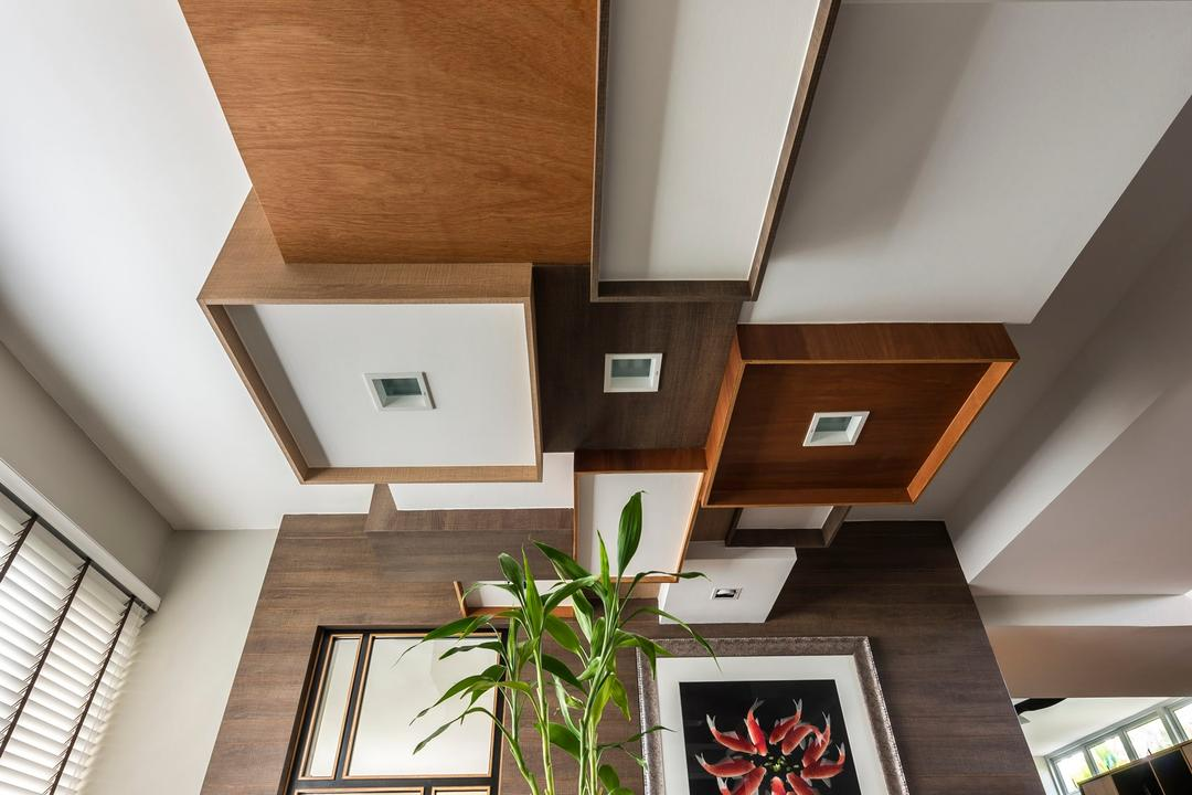 Pandan Valley, Prozfile Design, Eclectic, Dining Room, Condo, Wooden Ceiling, Glass Dining Table, Glass Table, Venetian Blinds, Blinds, Wallart, Wall Painting, Wooden Wal, Flora, Jar, Plant, Potted Plant, Pottery, Vase, Banister, Handrail, Staircase