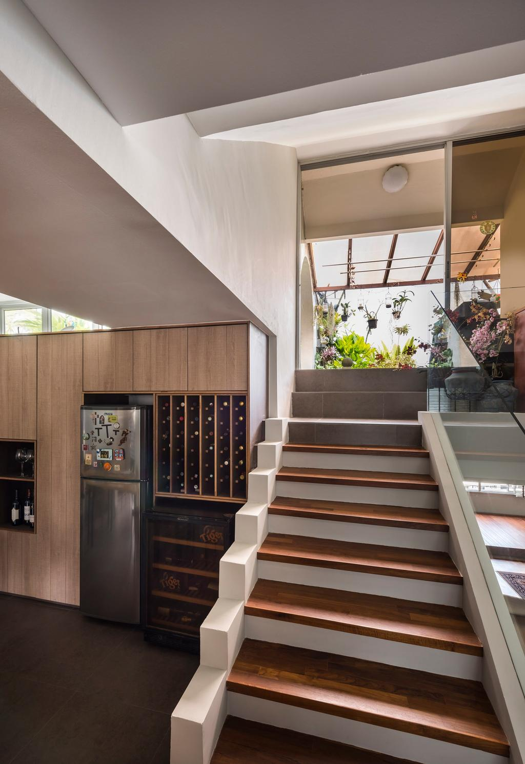 Eclectic, Condo, Pandan Valley, Interior Designer, Prozfile Design, Wooden Stairs, Wooden Staircase, Wine Cellar, Wine Storage, Wooden Storage, Stairs, Staircase, Flora, Jar, Plant, Potted Plant, Pottery, Vase, Banister, Handrail