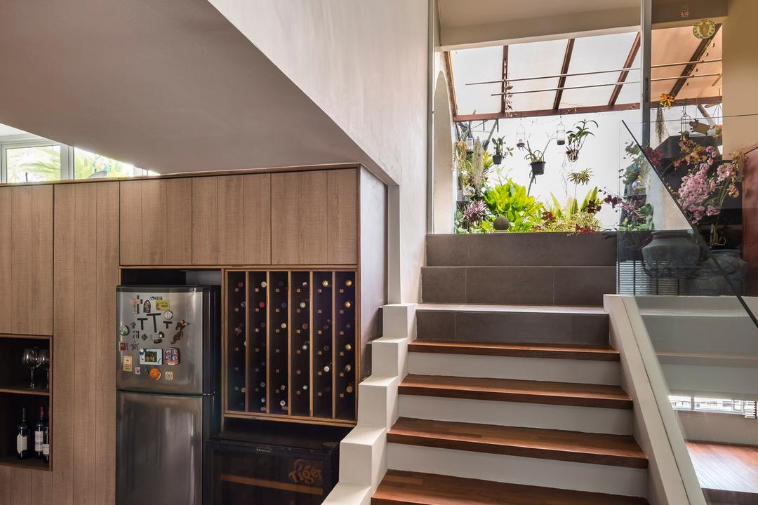 Pandan Valley, Prozfile Design, Eclectic, Condo, Wooden Stairs, Wooden Staircase, Wine Cellar, Wine Storage, Wooden Storage, Stairs, Staircase, Flora, Jar, Plant, Potted Plant, Pottery, Vase, Banister, Handrail