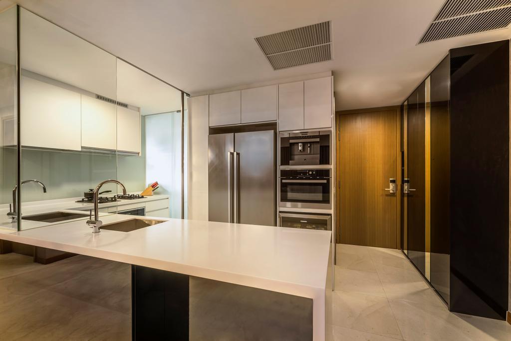 Modern, Condo, Kitchen, Vista Residences, Interior Designer, Ciseern, Appliance, Electrical Device, Oven, Electronics, Monitor, Screen, Tv, Television, Corridor