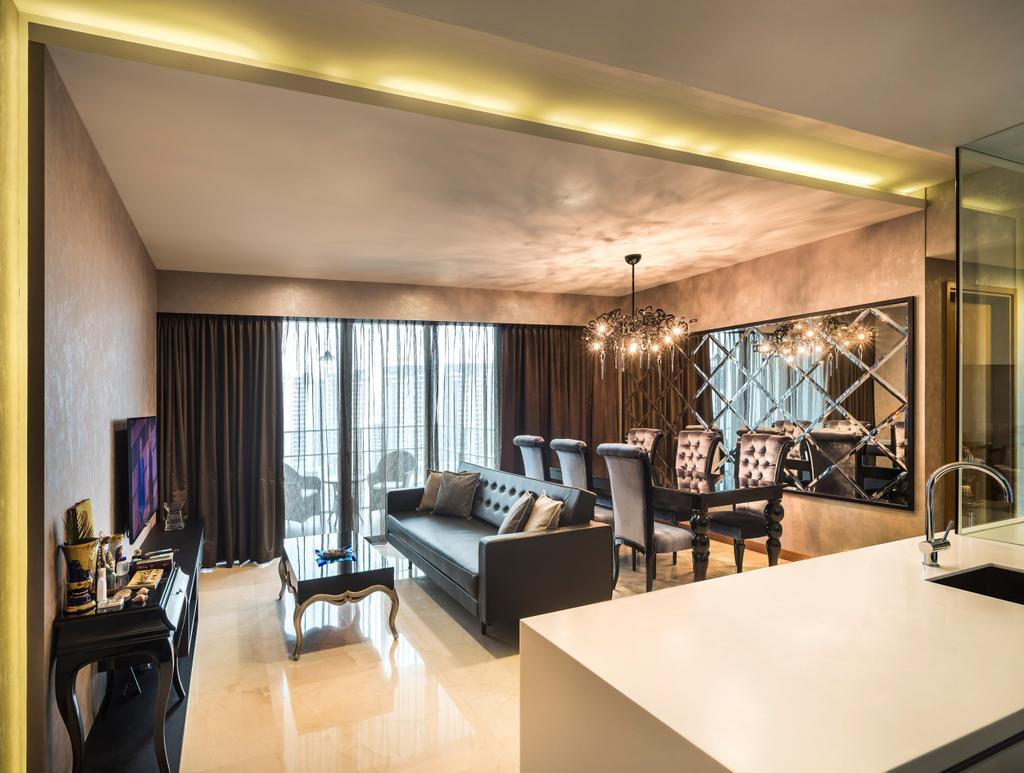 Modern, Condo, Living Room, Vista Residences, Interior Designer, Ciseern, Sink, Indoors, Interior Design, Dining Room, Room