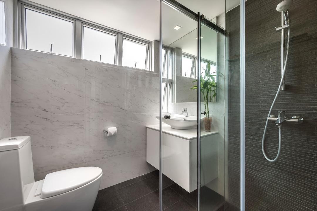 Pandan Valley, Prozfile Design, Eclectic, Bathroom, Condo, Marble Tile, Bathroom Tiles, Vessel Sink, Potted Plant, Bathroom Sink, Vanity, Bathroom Storage, Glass Shower Door, Glass Door, Toilet, Indoors, Interior Design, Room