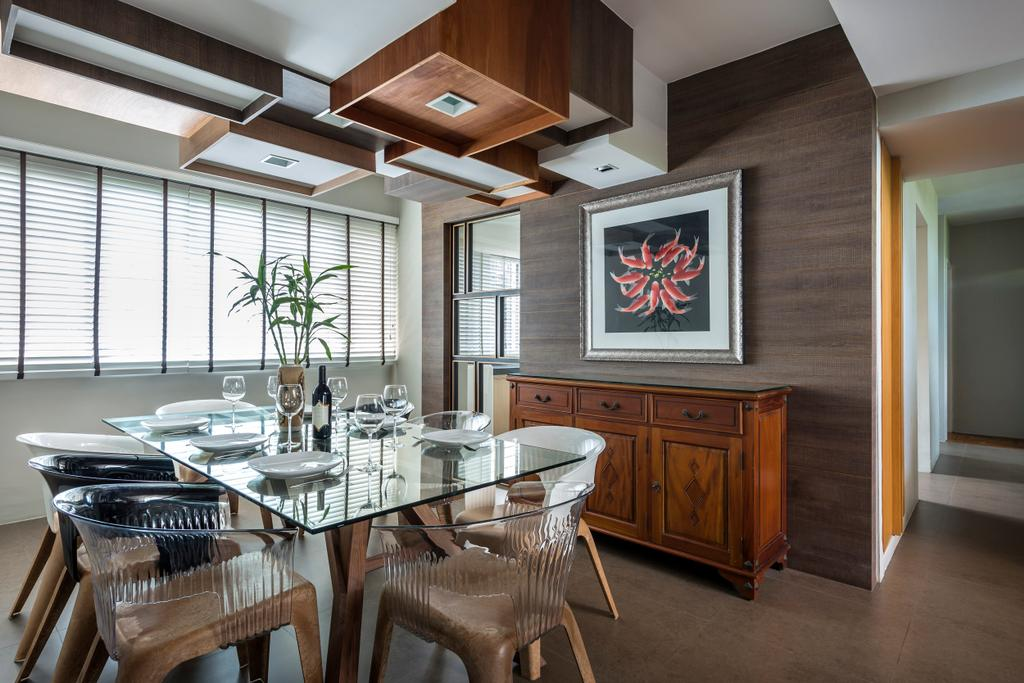 Eclectic, Condo, Dining Room, Pandan Valley, Interior Designer, Prozfile Design, Glass Dining Table, Glass Table, Wallart, Blinds, Venetian Blinds, Wooden Cabinet, Wooden Wall, Flower Vase, Wooden Ceiling, Cabinet, Display Cabinet, Indoors, Interior Design, Room, Chair, Furniture, Dining Table, Table