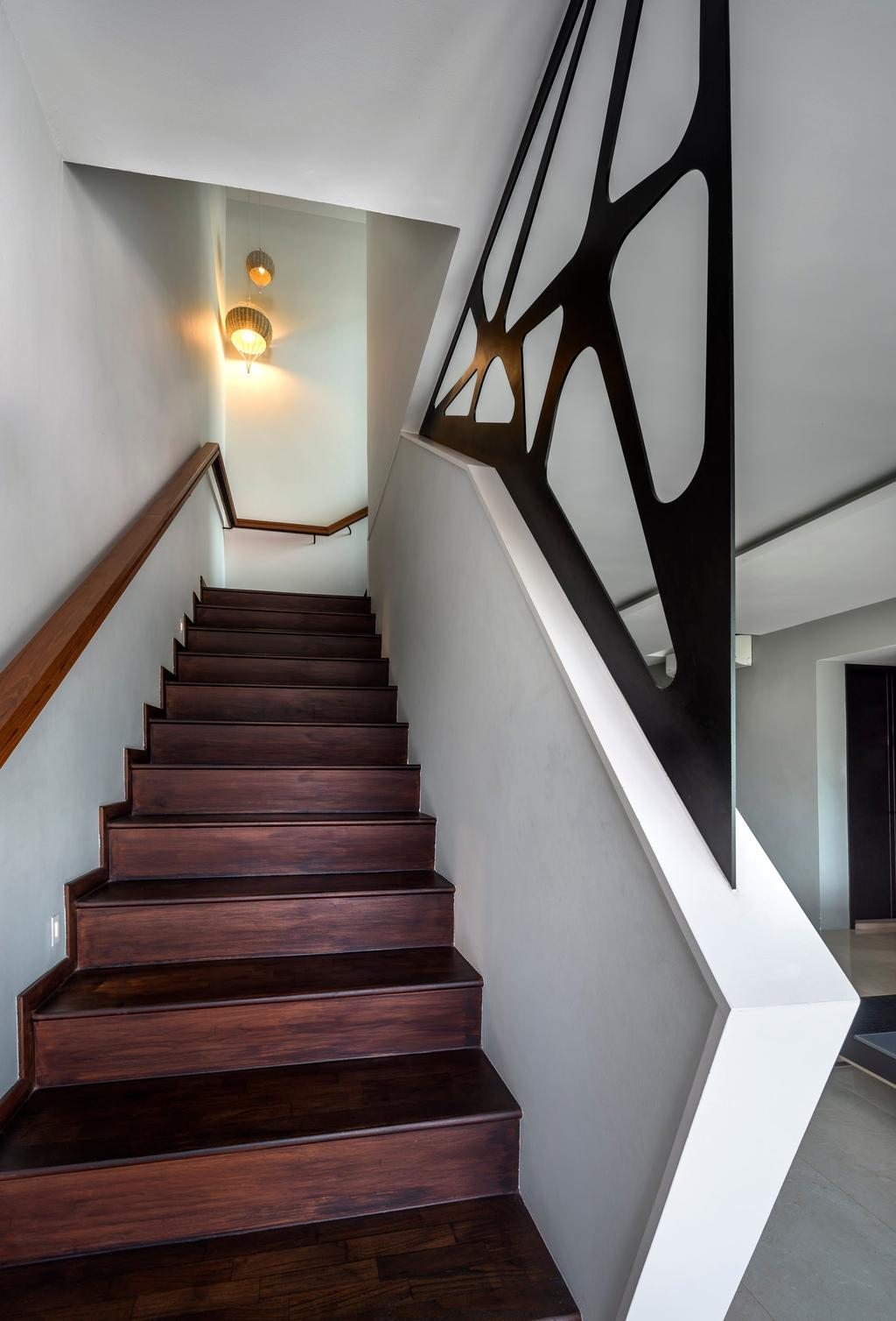 Contemporary, Condo, Hillview Avenue, Interior Designer, Prozfile Design, Wall Lamp, Wooden Steps, Wooden Railing, Banister, Handrail, Staircase