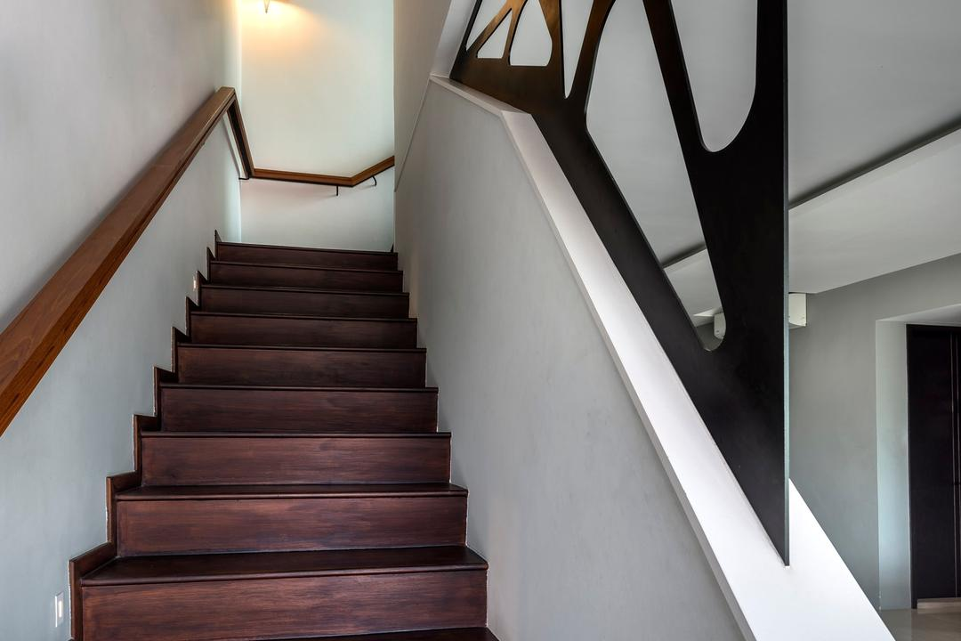 Hillview Avenue, Prozfile Design, Contemporary, Condo, Wall Lamp, Wooden Steps, Wooden Railing, Banister, Handrail, Staircase