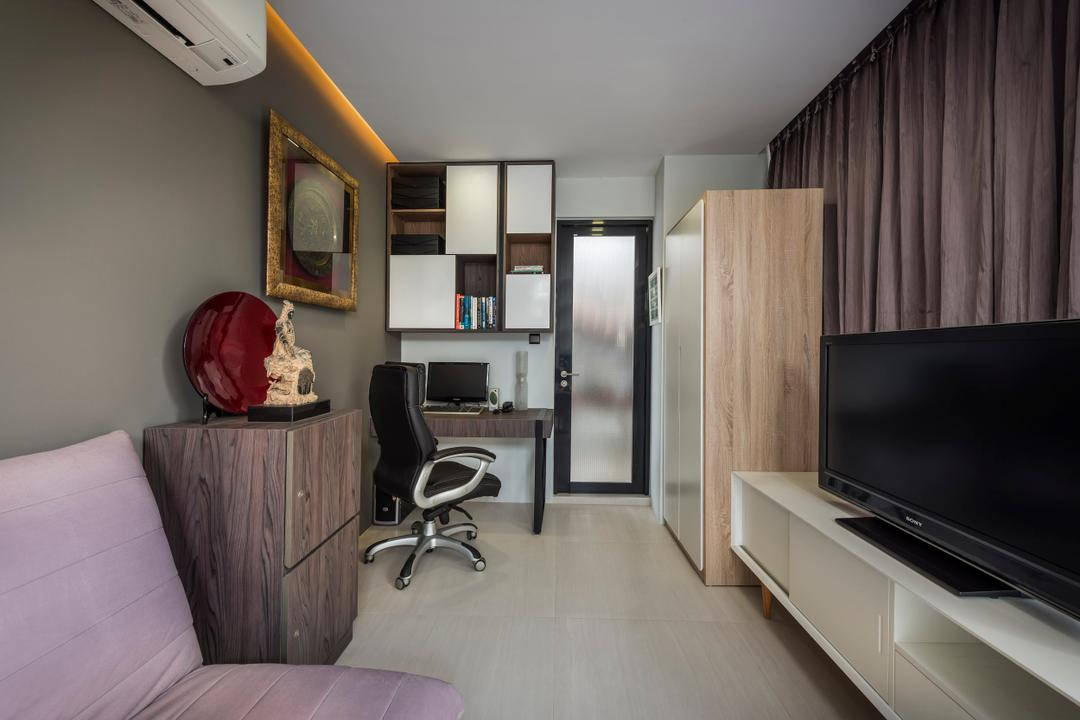 Hillview Avenue, Prozfile Design, Contemporary, Study, Condo, Wooden Cabinet, Decor, Concealed Lighting, Office Chair, Study Desk, Wall Mounted Shelf, Wooden Laminate, Flatscreen Tv, White Cabinet, Wall Mounted Cabinet, HDB, Building, Housing, Indoors, Bedroom, Interior Design, Room