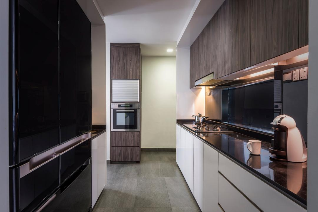 Hillview Avenue, Prozfile Design, Contemporary, Kitchen, Condo, Wooden Cabinet, Laminated Cabinet, White Cabinets