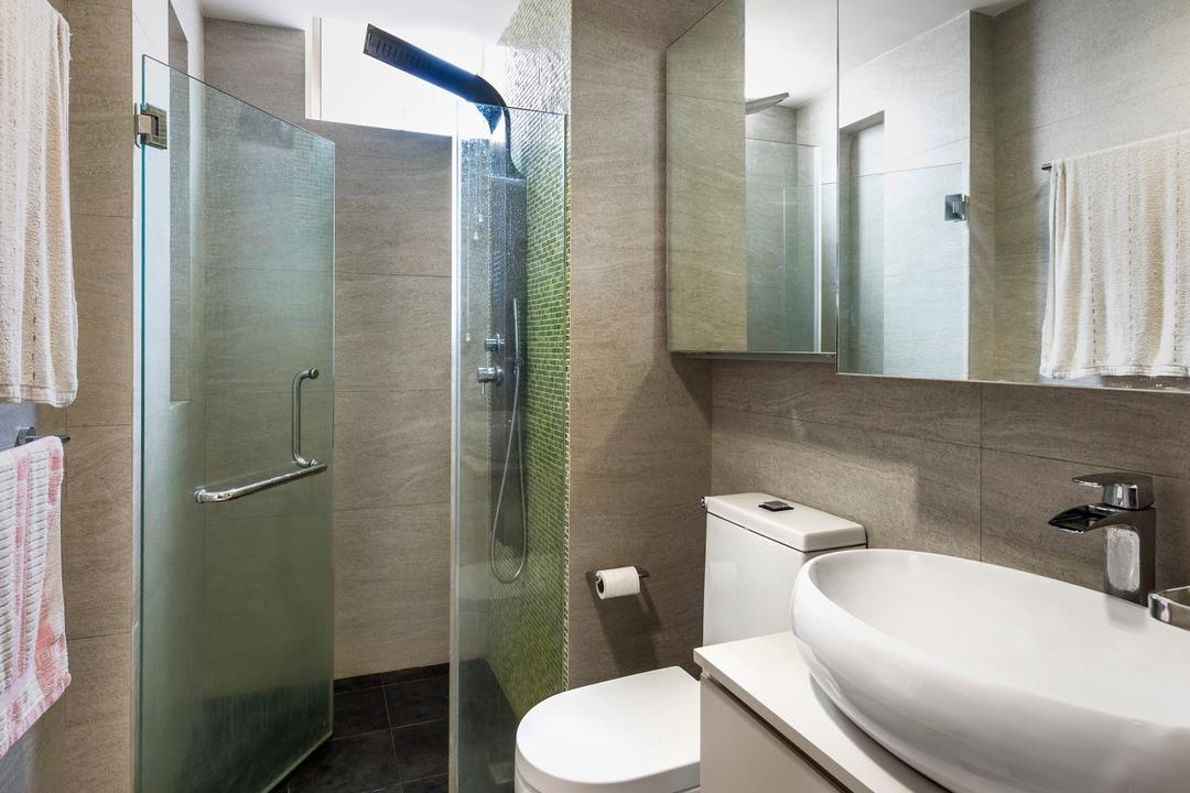 Hillview Avenue, Prozfile Design, Contemporary, Bathroom, Condo, White Basin, White Cabinet, Mirror Cabinet, Glass Shower Doors, Indoors, Interior Design, Room