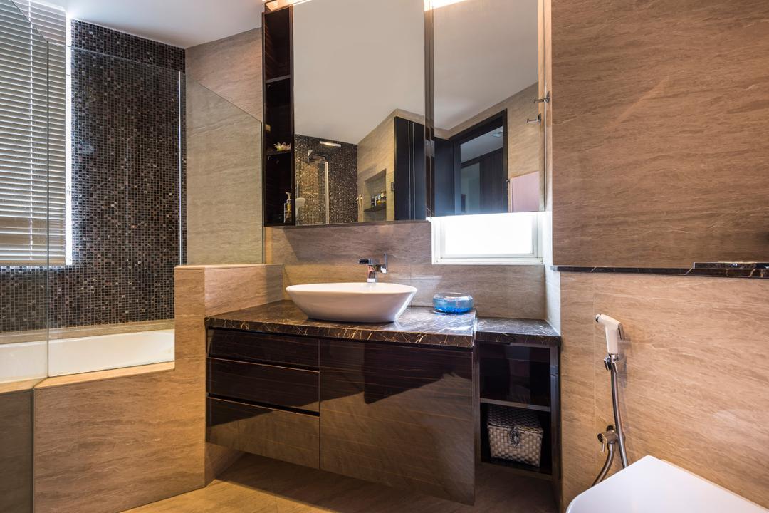Hillview Avenue, Prozfile Design, Contemporary, Bathroom, Condo, White Basin, Black Cabinet, Mirror Cabinet, Glass Shower Doors, Blinds, Appliance, Electrical Device, Oven, Indoors, Interior Design, Room, Lobby, Door, Sliding Door