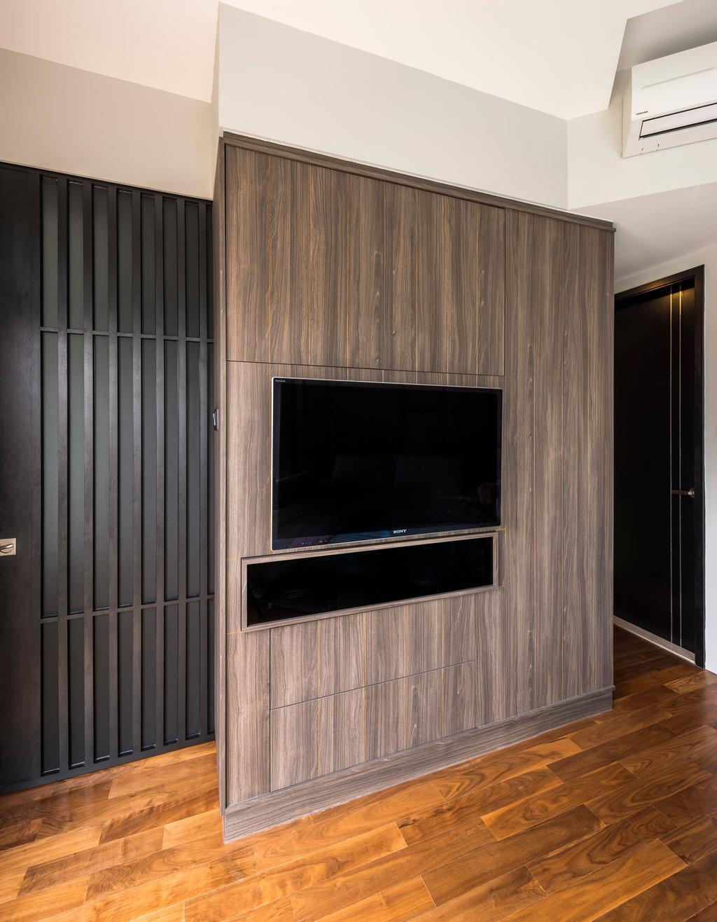 Contemporary, Condo, Living Room, Hillview Avenue, Interior Designer, Prozfile Design, Wooden Flooring, Brown Flooring, Laminated Flooring, Wooden Partition Wall, Partition Wall, Flatscreen Tv, Wall Mounted Tv